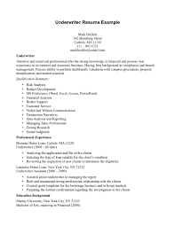 Mortgage Underwriter Resume Sample Insurance Underwriter Resume