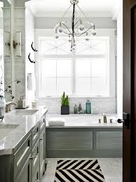 bathroom modern small spa bathroom decor with unique chandelier and double square white sink ideas