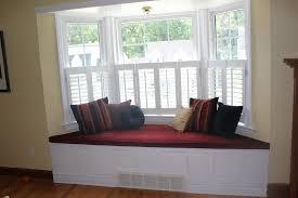 Interior:Interesting White Bay Window Seat With Red Mattress Interesting  White Bay Window Seat With