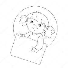 Kleurplaat Paginaoverzicht Van Leuke Meisje Houdt Een Teken