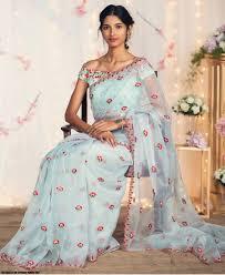 Stunning Designer Sarees Re Stunning Skyblue Nylon Net Embroidered Saree Designer