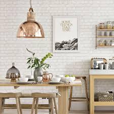wallpaper gorgeous kitchen lighting ideas modern. White Country Kitchen With Brick-effect Wallpaper · Modern IdeasKitchen Gorgeous Lighting Ideas L