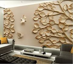 3d wallpaper for living room birds and leaves designs