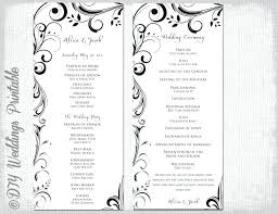 Wedding Program Scroll Marriage Order Of Service Template Tairbarkay Co