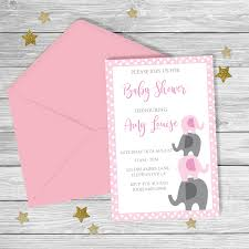 baby girl invite pink grey elephant baby shower invitation digital file baby girl