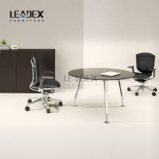 2018 oem design style small round office glass meeting table