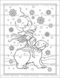 Christmas Bear Coloring Pages Little Pixie Elf Riding Polar Bear