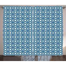 Yellow and Blue Curtains 2 Panels Set, Portuguese Azulejo Tiles with Traditional Moroccan Motifs, Window Drapes for Living Room Bedroom, 108W X 108L ...