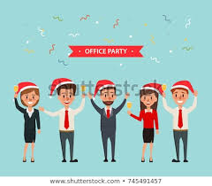 Office Party Celebrating Merry Christmas Happy Stock Vector Royalty