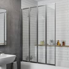 luxura 4 panel folding bath screen chrome frame 1000mm width