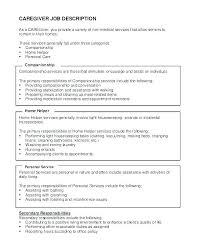 Elderly Caregiver Resumes Caregiver Resume Samples Elderly New Caregiver Job Description