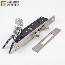 stainless steel slid door pull gate doublehook lock stealth lock for framed glass door cross key strong durable door hardware