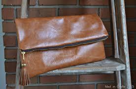 diy leather foldover clutch