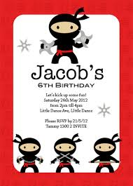 Birthday Invatations Boys Invitations Ninja Party