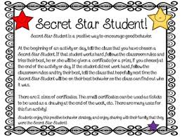 Star Student Certificates Classroom Management Free Secret Star Student