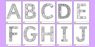 Classic cursive coloring pages alphabet (03). Uppercase Alphabet Pattern Themed Mindfulness Colouring Sheets Mindfulness