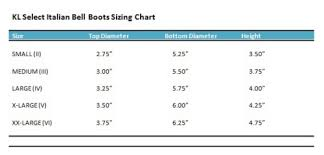 Bell Size Chart Kl Select Bell Boots
