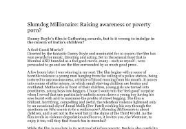 slumdog millionaire raising awareness or poverty porn danny  document image preview