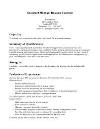 Assistant Manager Resume Objective Examples Profesional Resume