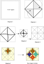 Cathedral Windows & 4. Fold opposite corners into the middle of the square. Press with hot  iron. Repeat for the other set of corners (See Diagram 2). Adamdwight.com