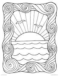 Ocean Waves Border Stencils Printable Wave Coloring Page Great