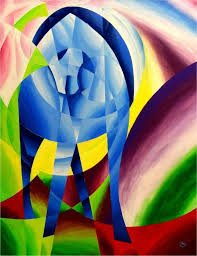 saatchi art blue horse i after franz marc original painting signed cubism painting by andreas kelm