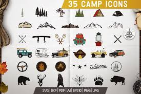 Menu icons and vector packs for sketch, adobe illustrator, figma and websites. 35 Camping Svg Bundle Travel Icons Camper Svg Cut Files 181965 Icons Design Bundles