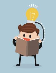 vector cartoon of man reading a book which create idea premium vector