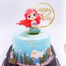 Princess Cake Topper Salju Putih Alice Putri Duyung Gambar Dekorasi