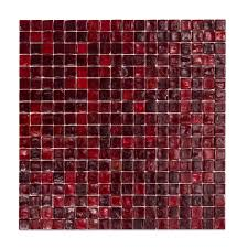 red mosaic tile encourage decor x mm glass tiles bunnings warehouse regarding