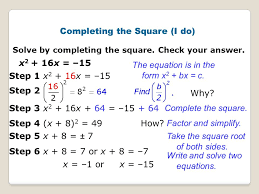 solving a quadratic equation by completing the square 12 completing