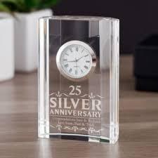 end silver wedding anniversary mantel clock image