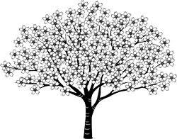 白黒イラスト桜の木春