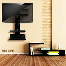 ... Wall Units, Swiveling TV Wall Mount With Two Shelves Electronics Shelf  For Under Wall Mounted