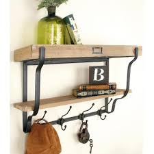 natural brown and black 2 tier wall shelf with hooks