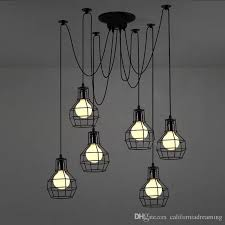 black industrial style 6 light metal cage pendant lamp close to