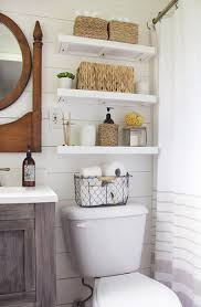 floating shelves over toilet