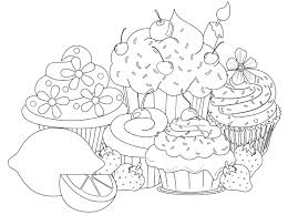 Cupcakes Coloring Pages Sheets #3743
