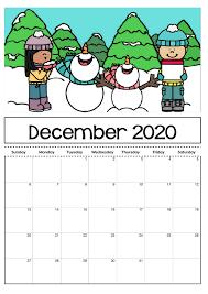 2020 Photo Calendar Template 2020 Calendar Template For Kids Big Fonts Calendar Shelter