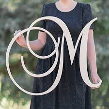 12 36 inch tall single letter curved font wooden monogram vine room decor nursery decor wooden monogram wall