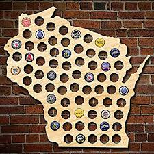 wisconsin beer cap map can be personalized made of beautiful birch wood wi beer