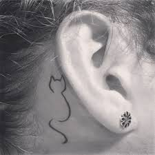 Small Cat Tattoo Behind Ear Topsimages Best Tattoo
