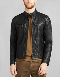belstaff archer biker jacket in black tumbled leather larger image