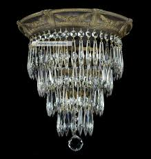 antique wedding cake flush mounted crystal chandelier gold bronze