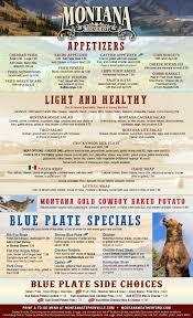 Montana Restaurant - Menu