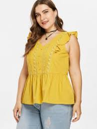 plus size tube tops plus size buttons ruffle blouse bright yellow plus size blouses 4x