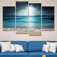 Your bedroom should be the coziest room in your house, so take it there with textile wall hanging. 4 Pcs Beach At Twilight Multi Panel Canvas Wall Art Modern Home Decor Living Room Or Bedroom Parksideave Marketplace