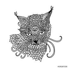 cat in mandala pattern style zenle black and white background coloring book