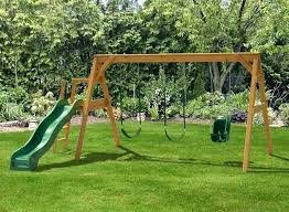 wooden swing sets childrens outdoor swing and slide set baby