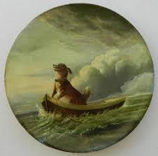 beautiful hand painted papier mache plate c1880 see it at antiquepooch vintage doganimal paintingsantique